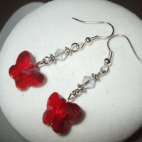 NEW Capturing Crimson - Red Swarovsky Crystal Butterfly Earrings | DesignsByAmyB - Jewelry on ArtFire