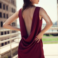 Red Sleeveless Open Back Dress