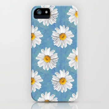Daisy Blues - Daisy Pattern on Cornflower Blue iPhone & iPod Case by Tangerine-Tane