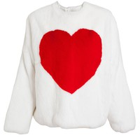 MSGM | Heart Motif Rabbit Fur Jumper | Browns fashion & designer clothes & clothing