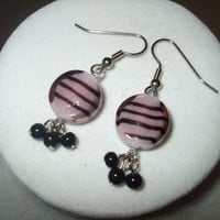 NEW Mad About Mauve - Pink and Black Striped Glass Earrings wDangles | DesignsByAmyB - Jewelry on ArtFire
