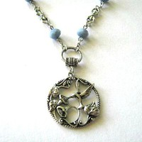 Opaque Blue Necklace Silver Hummingbird Jewelry Antiqued Silver | Luulla