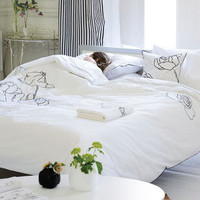 Valadier Embroidered White Bedding - Luxury 200 Thread Count Cotton Percale | Designers Guild USA