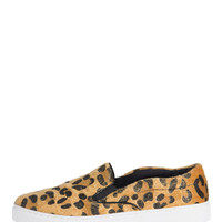 Faux Leopard Fur Slip On Sneakers