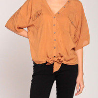 Casual Caribou Blouse in Camel