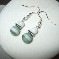 3 Earrings Sage and White Glass Bead Earrings | DesignsByAmyB - Jewelry on ArtFire