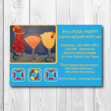 "Custom Printable Pool Party Invitation - 4x6"" or 5x7"" Adult Pool Party Printable Invitation - Summertime