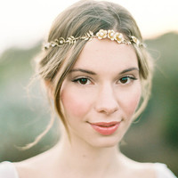"Gold floral wedding hair wreath with pearls ""Callan"" can be made with optional veil"