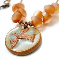Ceramic Bird Pendant Necklace
