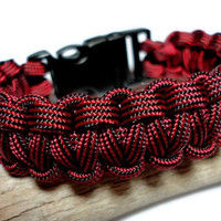 Paracord Survival Bracelet Fire Department Red and Black Side Release Buckle with Whistle Handmade USA