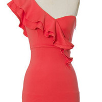 Trendy & Cute Clothing - Chloe Loves Charlie - Coral One Shoulder Dress - chloelovescharlie.com | $45.00