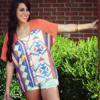 Fairview Tomato Semi-Sheer Aztec Top