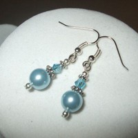 NEW 3 Earrings - Classic Crystal and Pearl Elegance Bridal Earrings blue Any Age Female | DesignsByAmyB - Jewelry on ArtFire