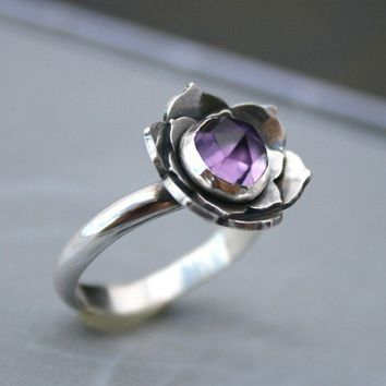 Lotus Amethyst Sterling Silver Cocktail Ring by KiraFerrer
