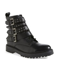Topshop 'Apply' Lace-Up Biker Boot (Nordstrom Exclusive) (Women)