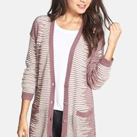 BP. 'Easy Grunge' Pattern Cardigan (Juniors)