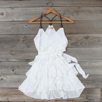 Scattered Ruffles Dress in White, Sweet Women's Country Clothing