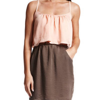 Charlotte Russe - Hammered Satin 2-Tone Dress