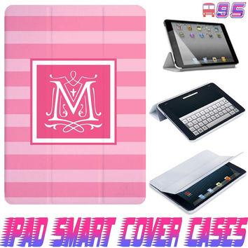 USA Customize double pink stripe line Monogram On IPad Air, IPad Mini, IPad 4/3/2 Smart Cover Magnetic Sleep Wake Case #95
