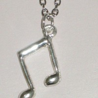 Silver Music Note Charm Necklace | StarlightSarah - Jewelry on ArtFire