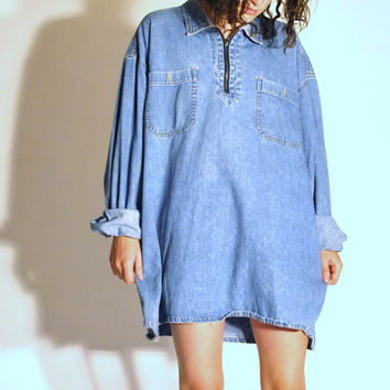 early 90s mens GRUNGE faded blue denim chambray shirt large