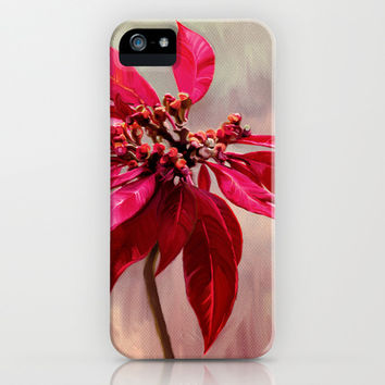 Poinsettia Painting iPhone & iPod Case by micklyn