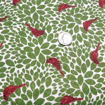 Green Leaves with Red Cardinals, Christmas Tree Glitz  100 % cotton Fabric, AE Nathan