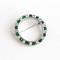 SALE- Vintage Sterling Silver Emerald Green & Clear Rhinestone Brooch- Late Art Deco 1940s Circle Wreath Jewelry Pin