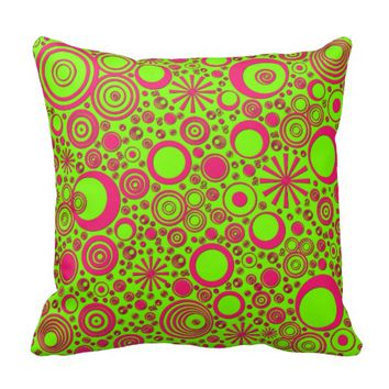 Rounds Pink-Green Throw Pillow