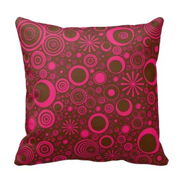 Rounds Pink-Brown Throw Pillow