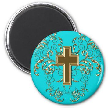 Gold Cross Ornate Scrolls Magnet, Turquoise