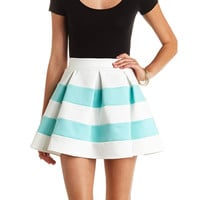 PLEATED & STRIPED SKATER SKIRT