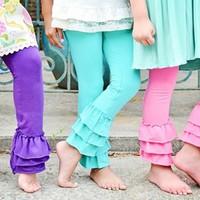 Triple Ruffle Ankle Length Leggings- Made in the USA