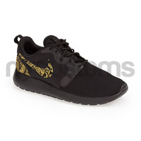 Nike Roshe Run Hyperfuse Black Metallic Gold Floral Supreme Print Custom Womens