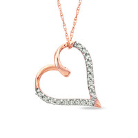 1/10 CT. T.W. Diamond Heart Pendant in 10K Rose Gold