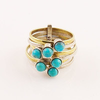 Blue Turquoise Sterling Silver Two Tone Ring