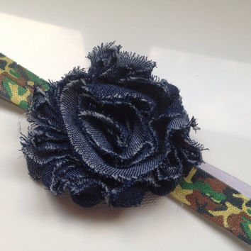 Camo Headband for Girls - Denim Shabby Flower Headband - Girls Flower Headband - Camoflauge Headband - Olive Green Headband Toddler Hairbow