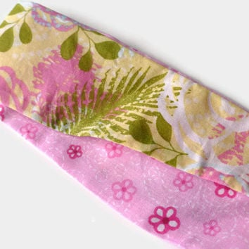 Pink Headband for Women - Women's Reversible Headband - Pink Fabric Flower Headband - Headband for Girls - Fabric Headband - Floral Headband