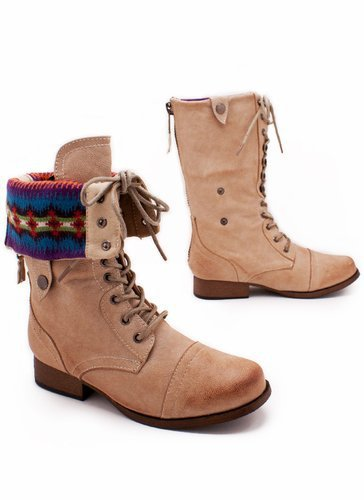 fair isle cuffed combat boot $29.10 in NATURAL - Boots | GoJane.com