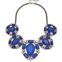 Severe Saturation Statement Necklace - Cobalt