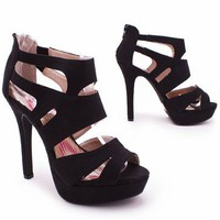 suede strappy heel &amp;#36;30.00 in BLACK FUCHSIA SEAGREEN YELLOW - Heels | GoJane.com