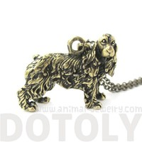 3D Detailed Cocker Spaniel Dog Lover Animal Charm Necklace in Brass