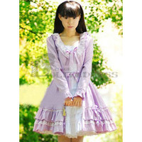 Cheap Long Sleeves Bowknot Multi-Layer Cotton Light Purple Sweet Lolita Dress [TQL120507131] - £50.59 :