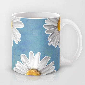 Daisy Blues - Daisy Pattern on Cornflower Blue Mug by Tangerine-Tane