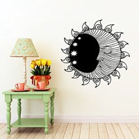 Sun Wall Decal Moon Crescent Dual Ethnical Stars Symbol Wall Decals Vinyl Sticker Home Interior Wall Decor for Any Room Housewares Mural Design Graphic Bedroom Wall Decal Bathroom (5845)