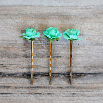 Mint  Rose Bobby Pin, Flower  Pin Set,Flower bobby pin