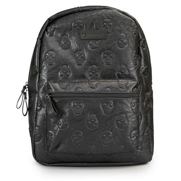 """Skull Embossed"" Faux Leather Backpack by Loungefly (Black)"