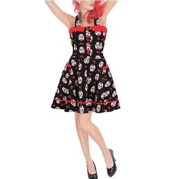 "Women's ""Day of the Dead"" Skulls Halter Dress by Jawbreaker"