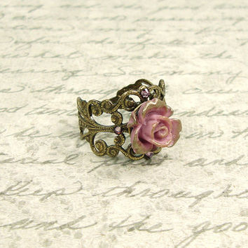 Dusty Pink and Bronze Rose Ring - Neo Victorian Vintage Style Resin Rose - Antiqued Brass - Swarovski Crystal - Shabby Chic Bronzy Pink