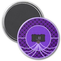 Purple Pearl Damask Monogram Magnet